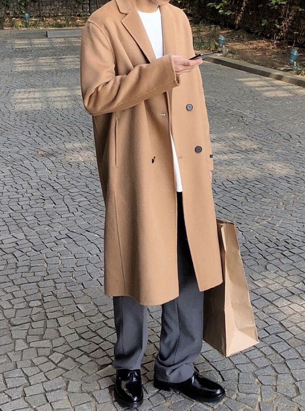 Handmade wool double long coat