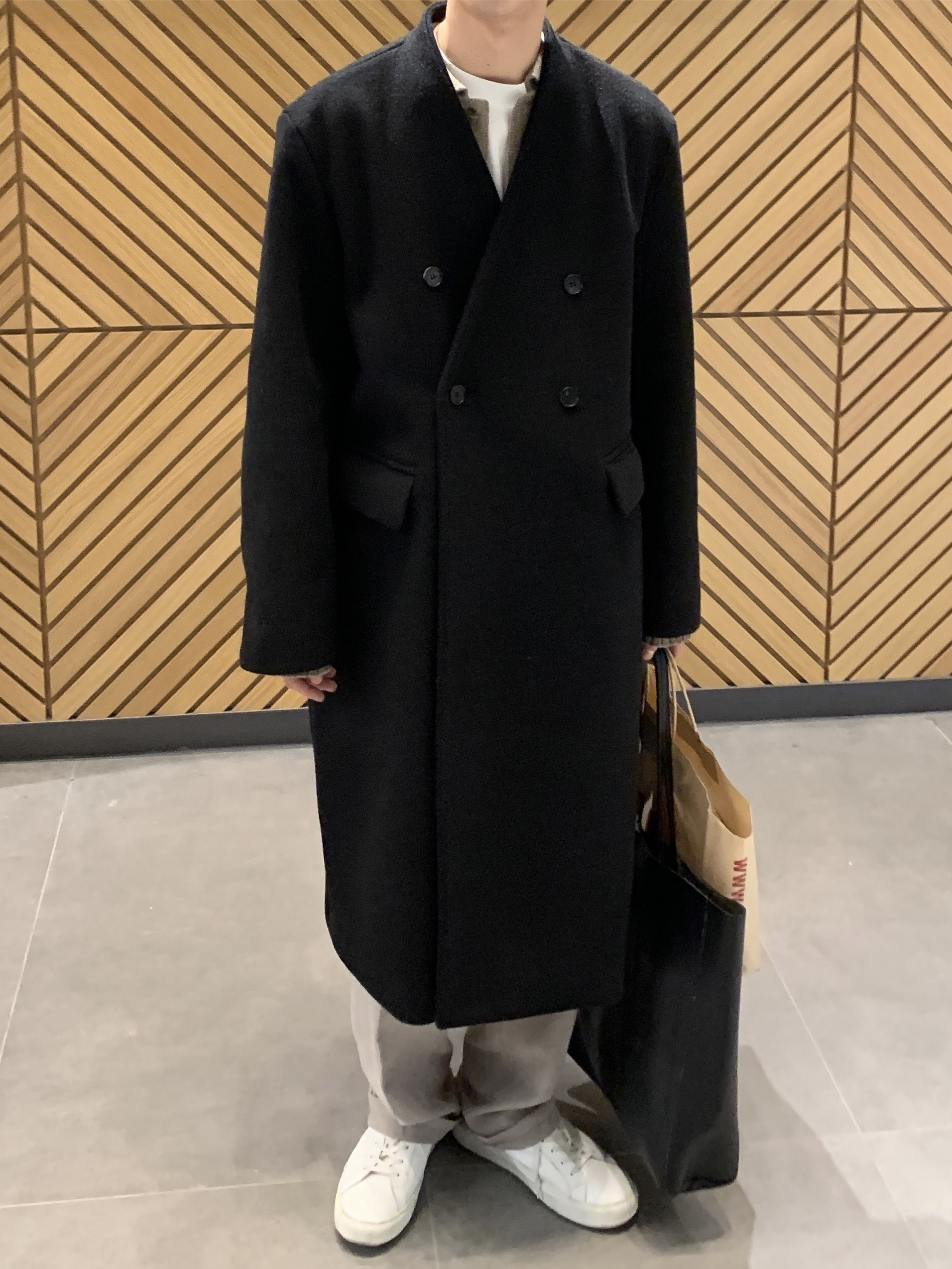 Nt semiover collarless double coat