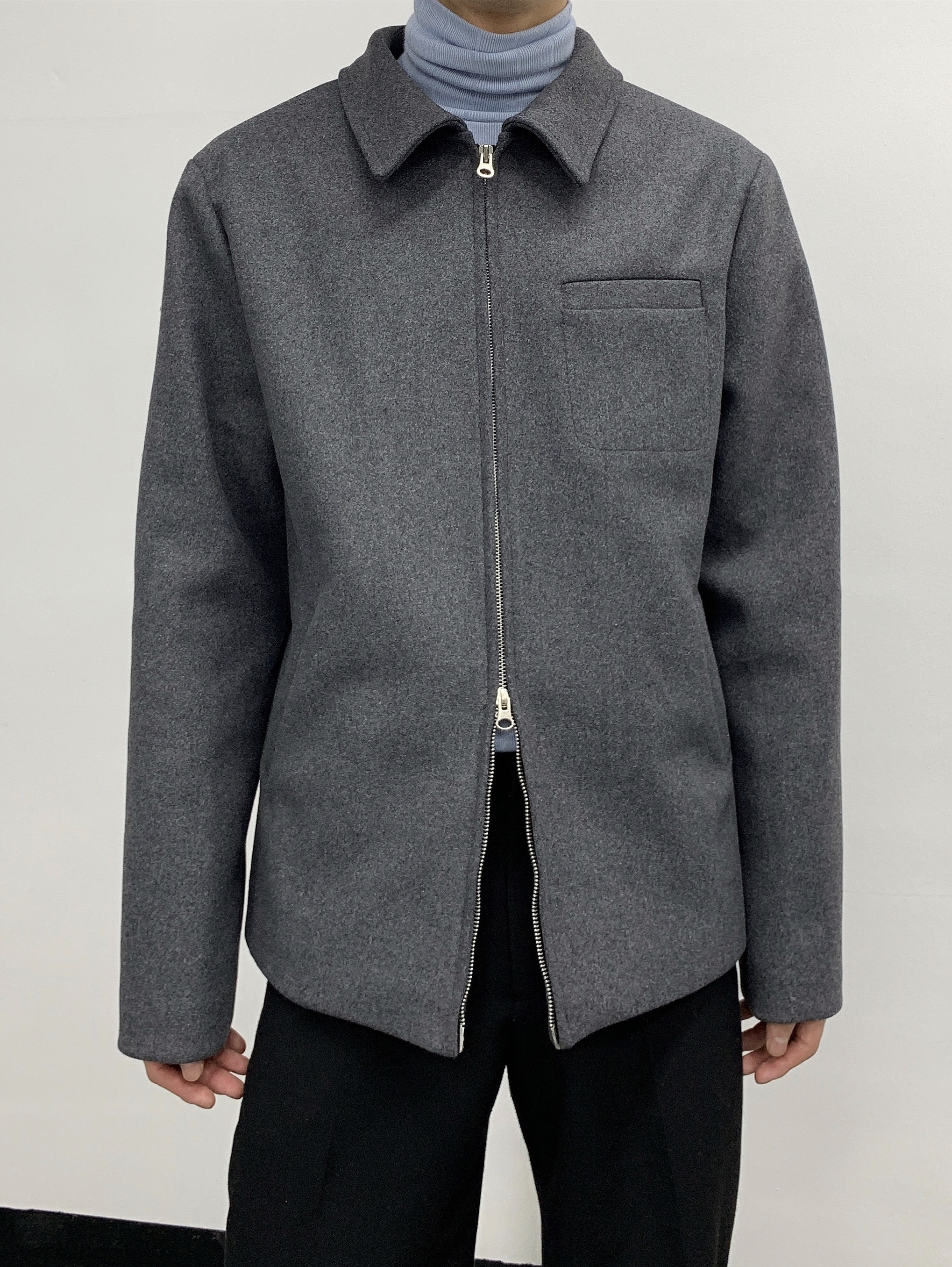 Minimal zip up collar jacket wool version[SALE]