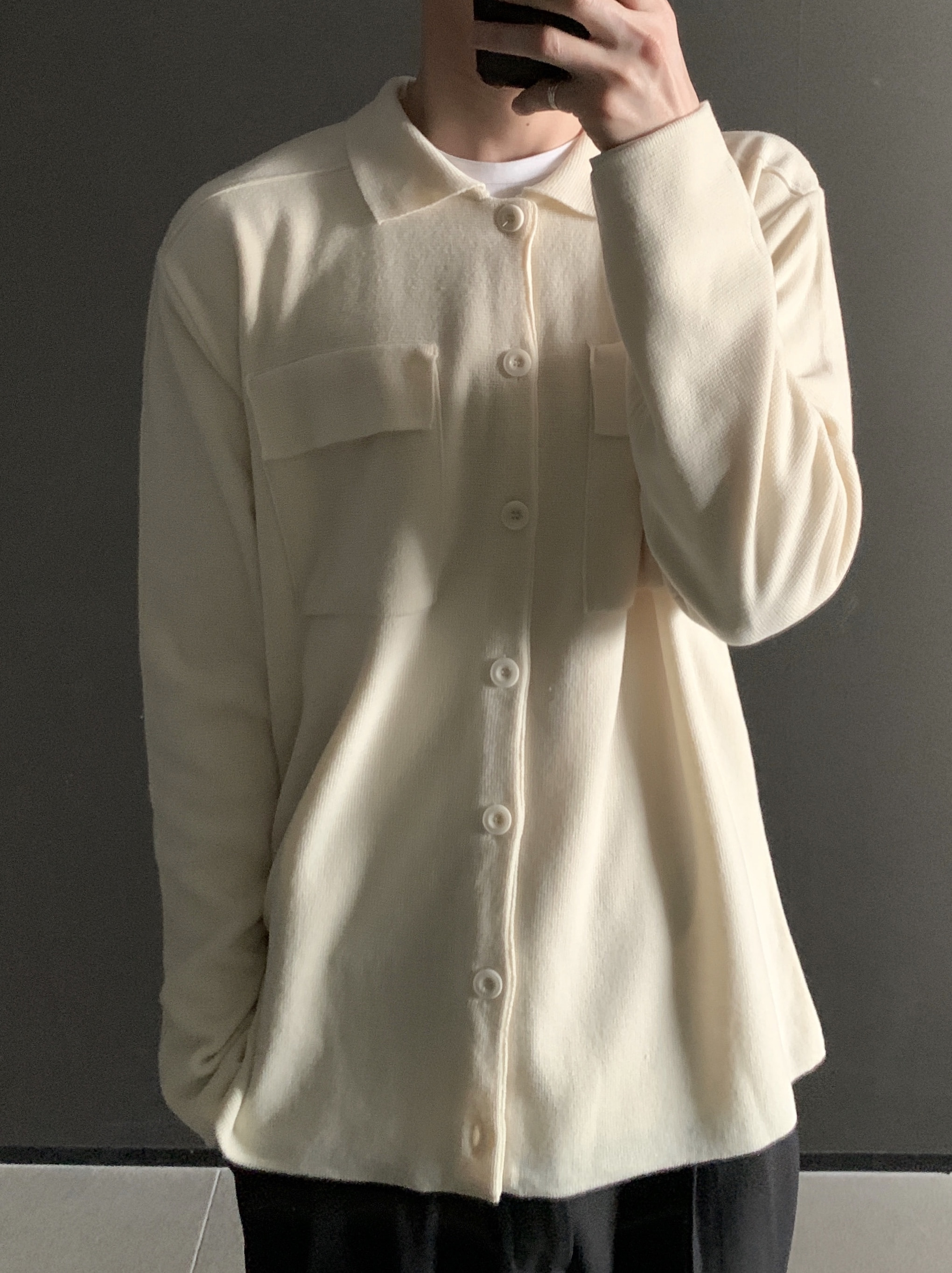 Re button collar knit jacket