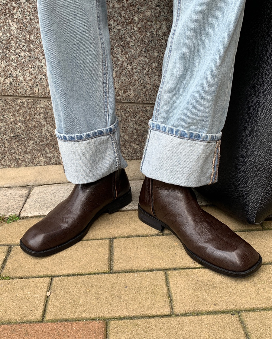 Flat square toe chelsea boots(brown)